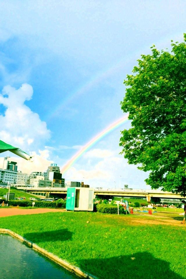 虹が二本写りました!